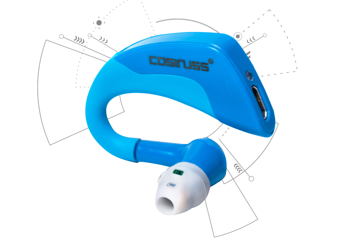In-ear fitness tracker cosinuss °one product photography