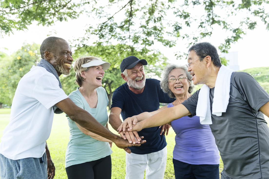 COPd patients happily exercising together