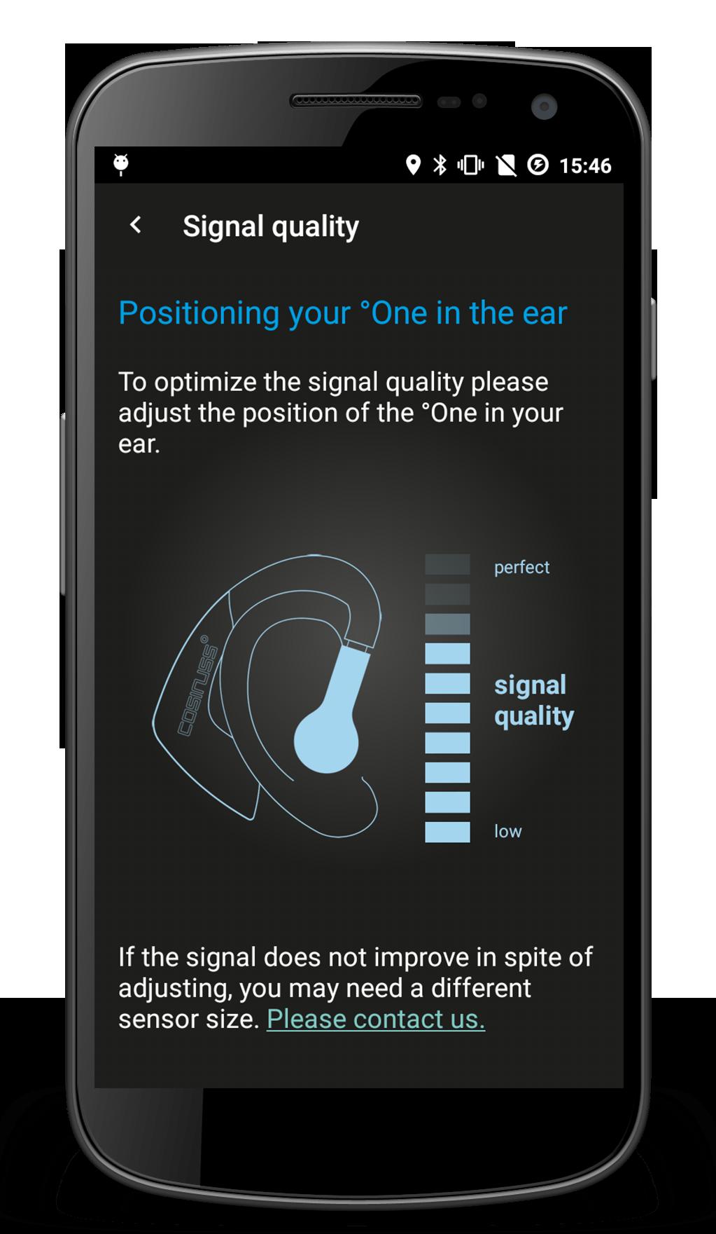 Beobachte den richtigen Sitz und die Messung des Puls-Sensors im Ohr